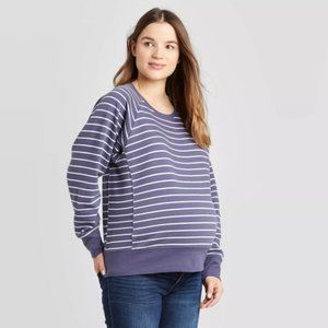Isabel Maternity Blue Striped Pullover Sweatshirt